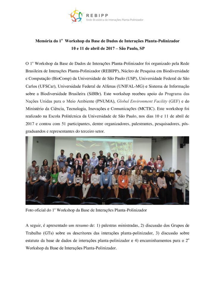 thumbnail of Memória 1o Workshop REBIPPdivulgação site